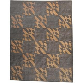 Herat Oriental Indo Hand-knotted Tibetan Grey/ Beige Wool Rug (8'10 x 11'4)