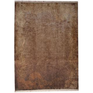 Herat Oriental Indo Hand-knotted Tibetan Tan/ Gold Wool Rug (8'2 x 11')