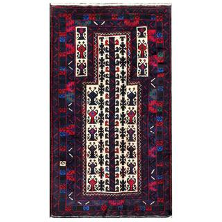 Herat Oriental Semi-antique Afghan Hand-knotted Tribal Balouchi Navy/ Ivory Wool Rug (2'9 x 5')