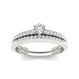 De Couer 10k White Gold 1/3ct TDW Diamond Bridal Set (H-I, I2)