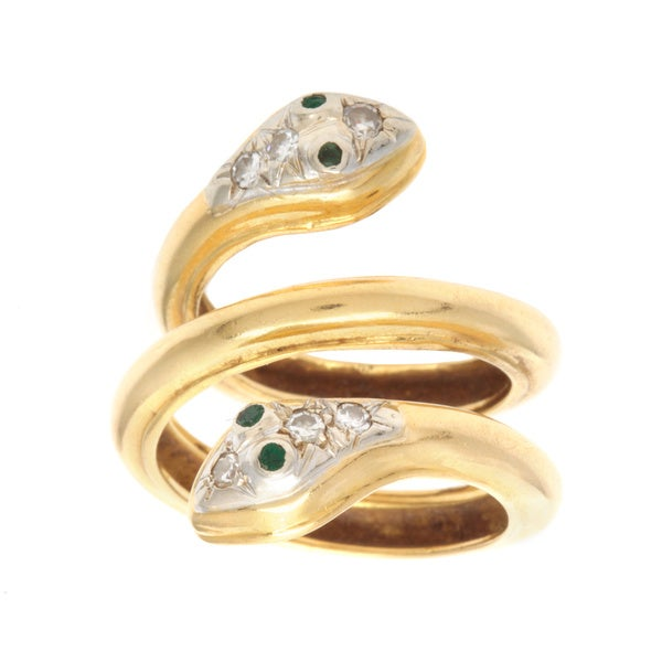 Pre-owned 18k Yellow Gold 1/7ct TDW Diamond and Emerald Two-headed Snake Estate Ring (H-I, SI1-SI2)