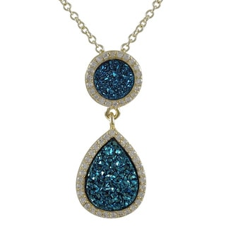 Sterling Silver Blue Druzy Quartz and White Cubic Zirconia Graduated Teardrop Necklace