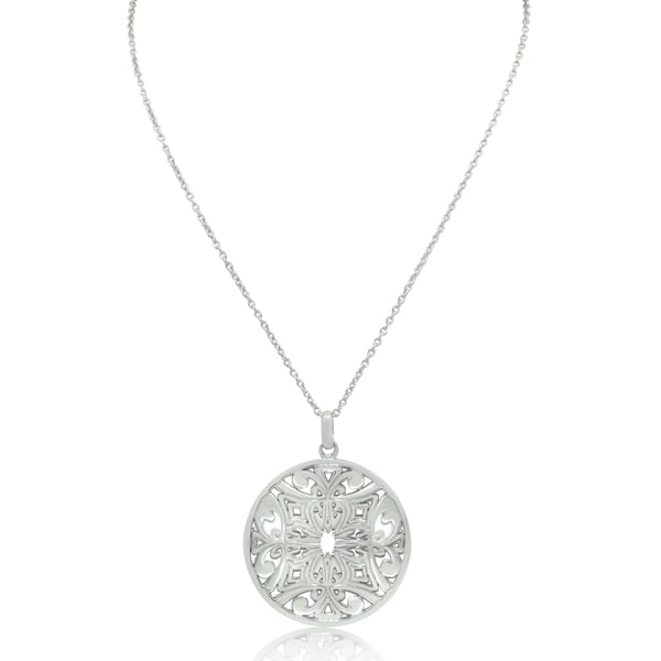 Gioelli Sterling Silver Italian Filigree Pendant Necklace