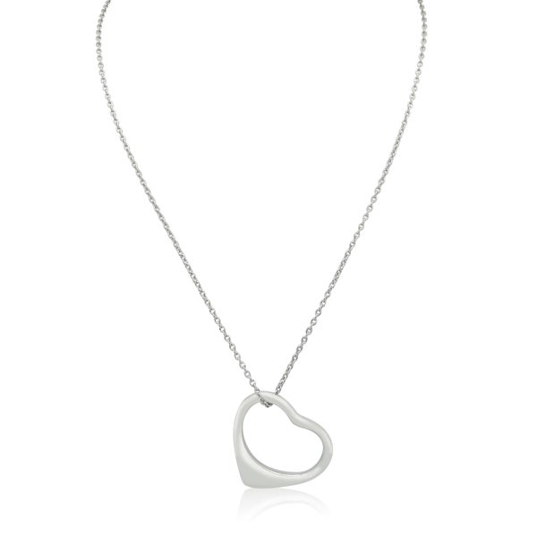 Gioelli Sterling Silver Italian Polished Open Heart Pendant Necklace