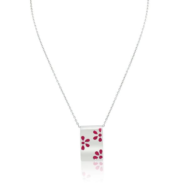 Gioelli Sterling Silver Italian Pink Enamel Flower Pendant Chain Necklace