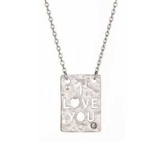 Gioelli Sterling Silver Diamond Accent 'I Love You' Pendant Necklace