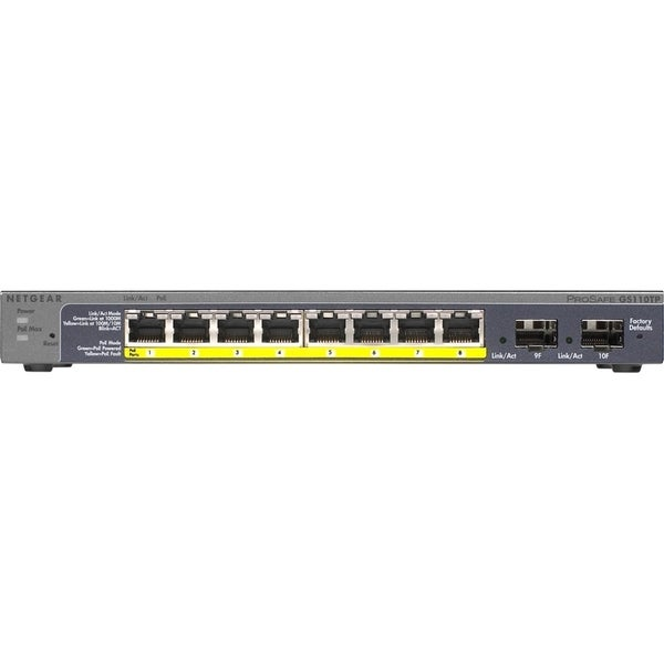 Netgear Prosafe 8-Port Gigabit PoE Smart Switch with 2 Gigabit Fiber