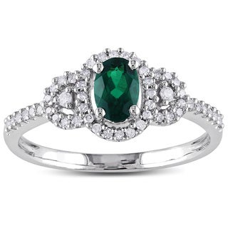 Miadora 10k White Gold Created Emerald and 1/6ct TDW Diamond Ring (H-I, I2-I3)