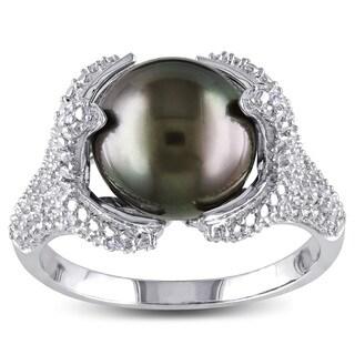 Miadora Sterling Silver Tahitian Black Pearl and 1/10ct TDW Diamond Ring (H-I, I2-I3) (10-10.5 mm)