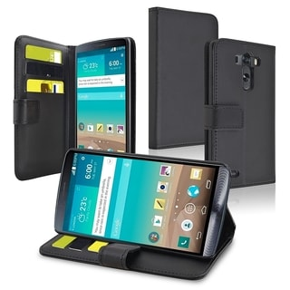 BasAcc Black Premium Stand Leather Case with Card Wallet Magnetic Flap for LG G3