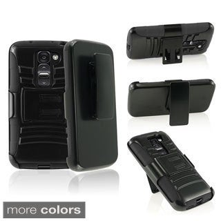 INSTEN Stand Holster Belt Clip PC Soft Silicone Hybrid Phone Case Cover for LG G2 Mini LS885