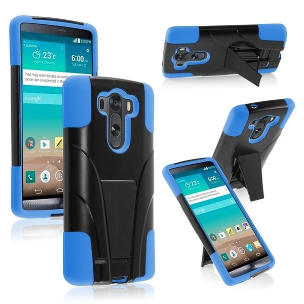 INSTEN Kickstand Shockproof Hard Plastic PC Soft Silicone Hybrid Phone Case Cover for LG G3