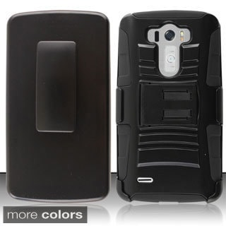 INSTEN Stand Holster Belt Clip Shockproof PC Soft Silicone Hybrid Phone Case Cover for LG G3