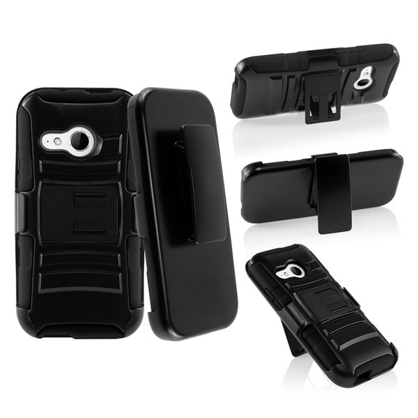 INSTEN Stand Holster Belt Clip Hard Plastic PC Soft Silicone Hybrid Phone Case Cover for HTC One Mini 2