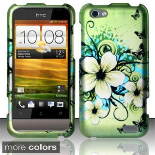 INSTEN Design Pattern Dust Proof Rubberized Hard Plastic Phone Case Cover for HTC One V