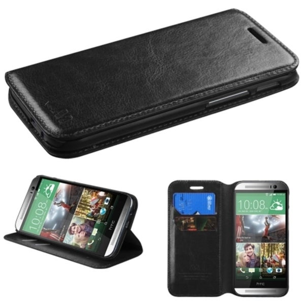 INSTEN Black Premium Stand Wallet ID Card Slots Leather Phone Case Cover for HTC One 2 M8