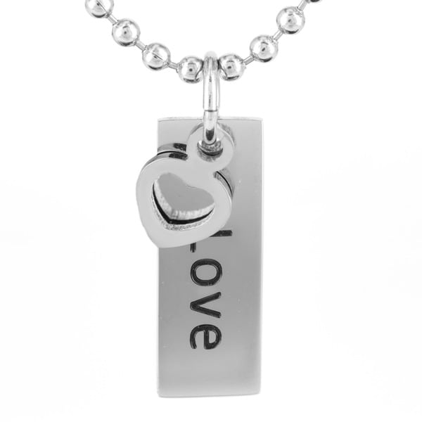 Stainless Steel 'Love' with Heart Charm Pendant