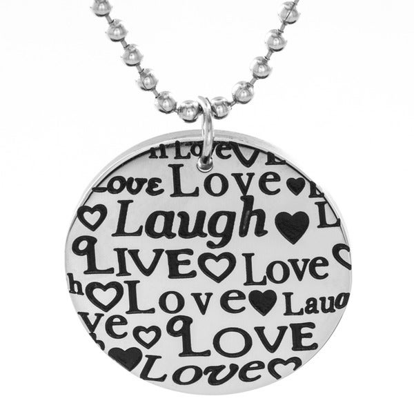 Stainless Steel 'Live Love Laugh' Disc Pendant Necklace