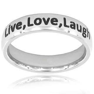ELYA Stainless Steel Inspirational 'Live, Love, Laugh' Band Ring