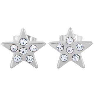 Stainless Steel Cubic Zirconia Star Stud Earrings