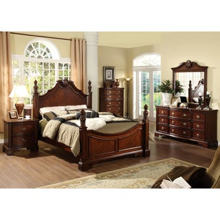 Furniture of America Luxi Kenji Formal 4-Piece Poster Bedroom Set