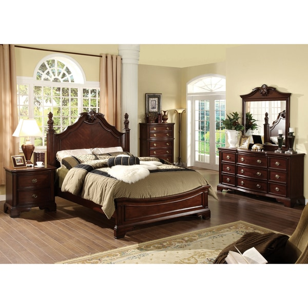 Furniture Of America Luxury Brown Cherry 4 Piece Baroque Style Bedroom