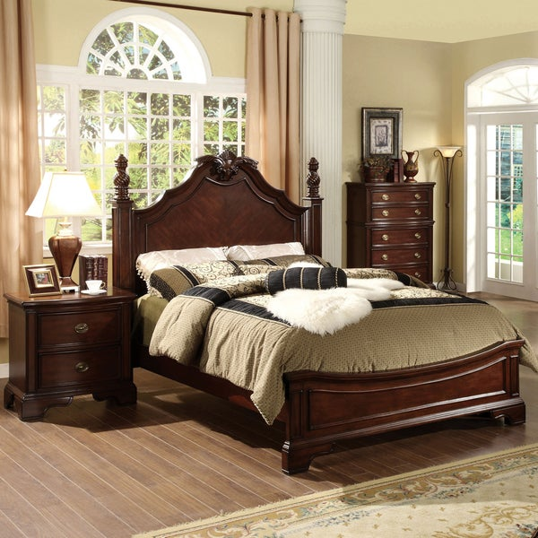 furniture of america ambrosio formal 3 piece dark cherry bedroom set