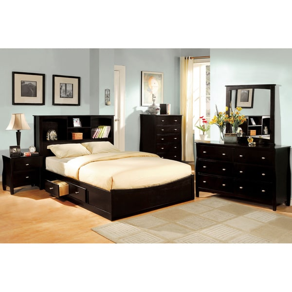 furniture of america elisandre espresso 4 piece bookcase style bedroom