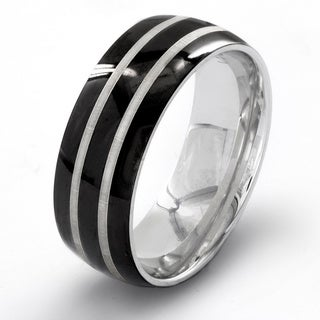 Black-plated Stainless Steel Men's Etched Double Striped Ring