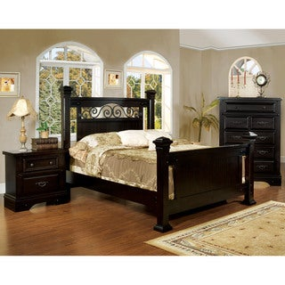 Furniture of America Marlo 2-Piece Country Style Espresso Bed with Nightstand Set
