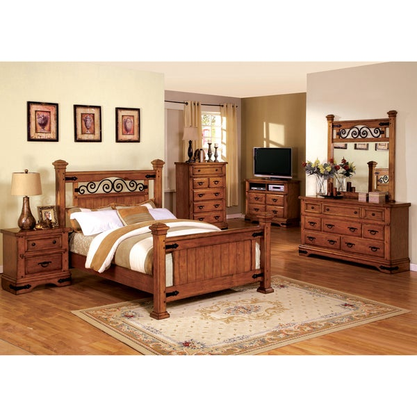 Furniture Of America 4 Piece Country Style American Oak Bedroom Set 16411482