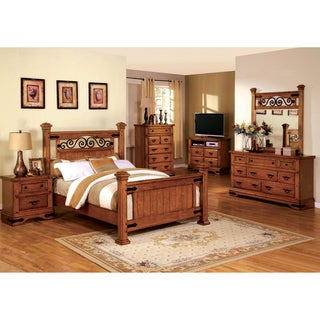 Furniture of America Marlo 4-Piece Country Style American Oak Bedroom Set