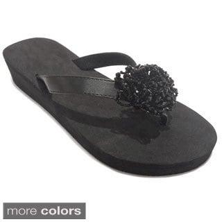 Olivia Miller Women's Cluster Beaded Sandals