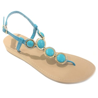 Olivia Miller Women's Gold-turquoise Stone Wedge Sandals