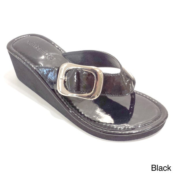 Olivia Miller Women's Wedged Pilgrim Buckle Sandals