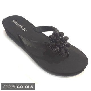 Olivia Miller Women's Floral Bead Sandals