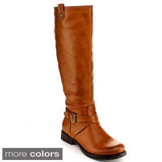 Blossom Women's 'Zoey-7' Buckle Criss-cross Strap Knee-high Riding Boots