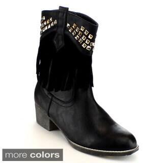 Mark & Maddux Women's 'Poppy-06' Studded Western Mid-calf Boots