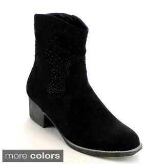 Mark & Maddux Women's 'Poppy-07' Rhinestone Block Heel Calf Booties