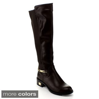 Via Pinky Women's 'Kaylin-04' Knee-high Goldtone-trim Riding Boots
