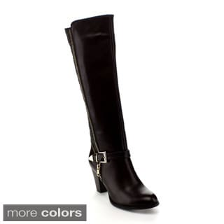 Via Pinky Women's 'Mylee-68' Black Knee-high Riding Boots