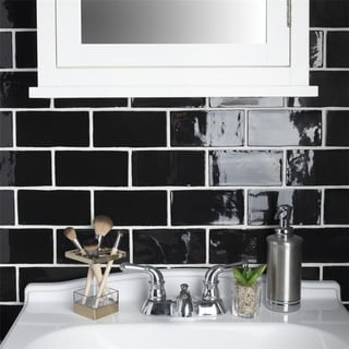 SomerTile 3x6-inch Thames Nero Ceramic Wall Tile (Case of 16)
