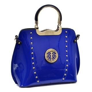 Dasein Patent Studded Flat-bottom Bag