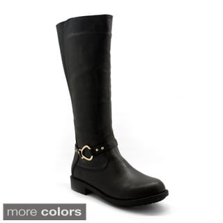 Betani Women's 'Amber-1' Black Motorcycle Riding Knee-high Boots