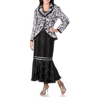 Giovanna Signature Women's Pleated Texture Skirt Suit