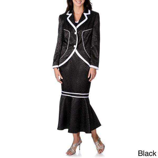 Giovanna Signature Women's Animal Print with Contrast Trim 3-piece Skirt Suit