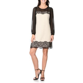 S.L. Fashions Women's Black and Taupe Sheer Long Sleeve Shift Dress