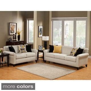 Furniture of America Artistica Sleek Modern 2-Piece Chenille Sofa Set