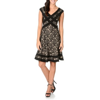 S.L. Fashions Women's Lace Fit-and-flare Dress