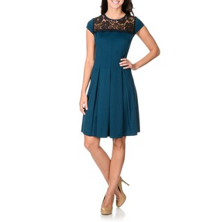 S.L. Fashions Women's Lace Yoke Pleated Fit-and-flare Dress
